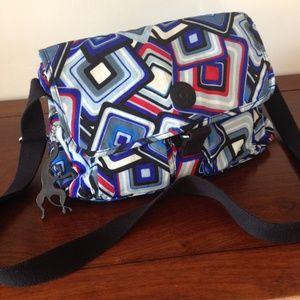 Kipling Red/White & Blue Geo Print Nylon Tote Bag